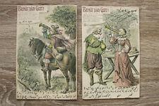 Präge Litho 2 AK Behüt dich Gott 1905 Trompeter Trompete Frau Mann Pferd Lehren