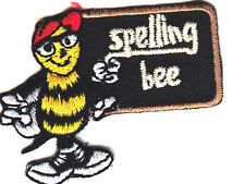 """SPELLING BEE"" IRON ON EMBROIDERED APPLIQUE - SCHOOL - COMPETITION - BOOKS"