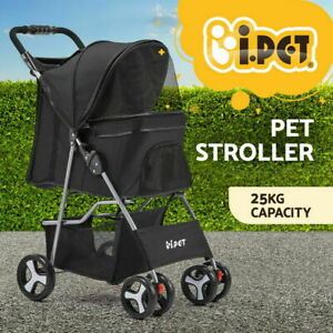i.Pet Pet Stroller Dog Cat Cage Carrier Travel Pushchair Foldable Pram 4 Wheels