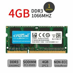 For Crucial 4GB 2GB DDR3 PC3-8500S 1066MHz 1.5V 204Pin SO-DIMM Memory Laptop UK