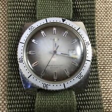 Rare Vtg Timex Diver Watch Automatic Fancy Dial w/ Date & Military Band [KD14]
