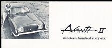1966 Avanti II Original Car Sales Brochure - Studebaker based fiberglass Coupe