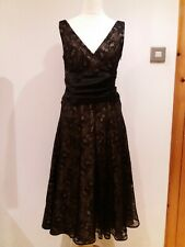 Lovely Size UK 10 MONSOON Party Lace Crochet Black Dress Party Occasion prom J