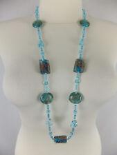 Halskette mit Muranoglas neu Modeschmuck türkis goldfarbener Glitzer Hippie Boho