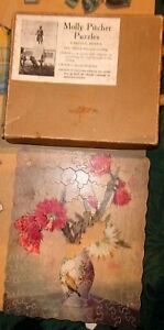 Molly Pitcher PuzzlesPosies1018x6-2 Pieces vintage wooden jigsaw