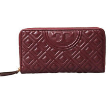 AUTHENTIC Tory Burch Fleming Zip Continental Wallet Claret