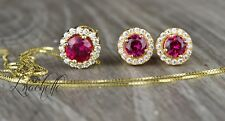 "Round Solitaire Halo Ruby Earring&Necklace Set 14K Yellow Gold+16""  Gold Chain"