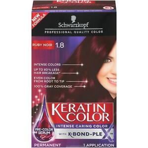 SCHWARZKOPF Ruby Noir 1.8 PERMANENT KERATIN HAIR COLOR Intense Caring K-BOND-PLE