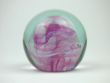 Isle of Wight Studio Glass pink swirl paperweight England 1970s