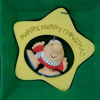 American Greetings Ziggy Merry Days Yellow Star Shape Christmas Ornament Rotates