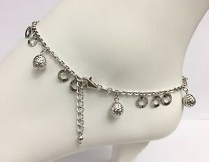 18k Solid White Gold Mix Charms Italy Anklets ,9.5 To 10.5 Inches, 6.07 grams