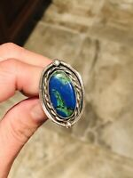 Vtg Old Pawn Native American Sterling Large Blue Turquoise Lapis Stone Ring Sz 6