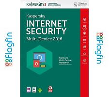 Kaspersky Internet Security 2016 - 3 PCs/Devices, 1 Year - CD/DVD, New/Sealed!