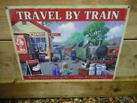 Train Picture Metal Sign ( TRAVEL BY TRAIN ) Steam Train Film Prop A Nice Gift