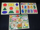lot (3) early childhood knob & shape numbers animal wooden puzzles vintage toys