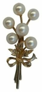 MIKIMOTO Pearl Brooch Tokyo Gold Sterling Silver Floral Spray Vintage 1950s