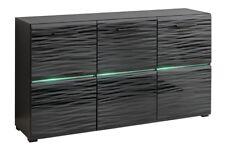 Commode Cupboard BLADE Sideboard highboard 3D hight gloss black LED lighting