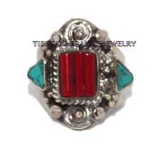 Adjustable Turquoise Ring Coral ring Gypsy ring Tibetan ring Tibet Ring RB24