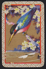 1 Single VINTAGE Swap/Playing Card BIRD KINGFISHER DRAGONFLY FLOWERS Gold Det.