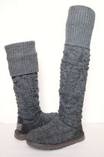 UGG AUSTRALIA Over the Knee TWISTED CABLE KNIT Boots WOMENS 6 GRAY Tall Classic