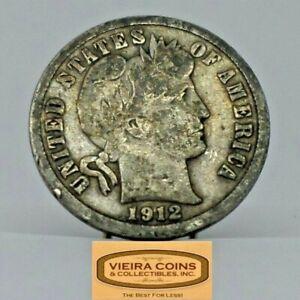 1912-S Barber Silver Dime, 90% Silver - #C20498NQ