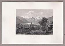 Zillertal Österreich - Blick ins Tal - Grafik, Stich, Stahlstich um 1850