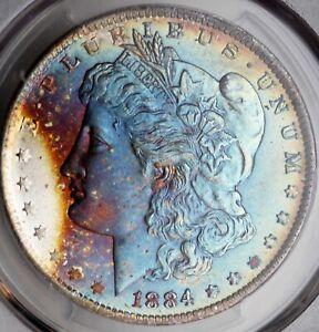 1884-O Morgan Silver Dollar PCGS MS65 CAC Rainbow Toned Crazy Gorgeous