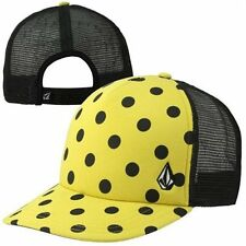 New Volcom Crowned Queen Cheese Yellow Polka Dots Trucker Snapback Cap Hat 9355d0cc97e7