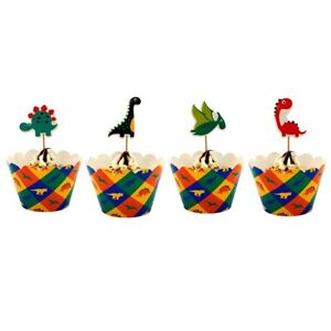 Kids Dinosaurs Birthday Party Cupcake Decoration 12Pcs Wrappers & 12Pcs Toppers