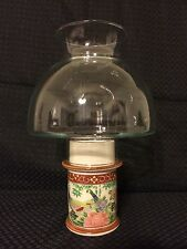 Clear Glass Dome Globe Ceramic Hurricane Lamp Vintage Peacock Candle Holder