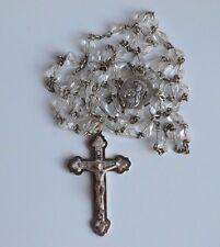 Italy Vintage Catholic Rosary Faceted Pear Shape Ice Crystal Beads 1 side caped