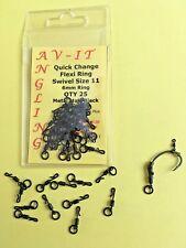 AV-IT ANGLING 25 X Quick Change Flexi Ring Swivels Size 11 Carp Fishing Rigs