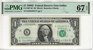 1969 D $1 FEDERAL RESERVE STAR NOTE DALLAS FR.1907-K* PMG SUPERB GEM UNC 67 EPQ