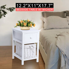 Bedside Table Set White Cabinet Nightstand Bedroom Storage Drawer Home Decor UK