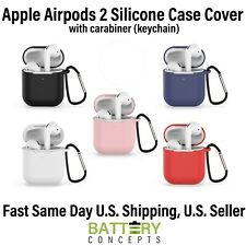 Apple AirPods Gen2 Wireless Charging Protective Silicone Case Cover w/Keychain