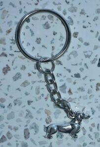AU Seller Dachshund Dash Hound Sausage Dog Silver Keyring 6.5cm Christmas Gift