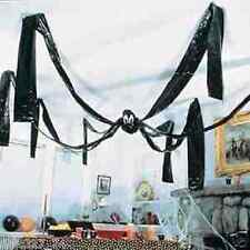GIANT 3M X 3M BLACK SPIDER HALLOWEEN PARTY SPOOKY HANGING ROOM DECORATION PROP