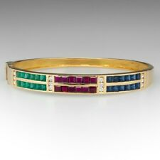 "1940'S Harry Winston Emerald Ruby Bangle 7.25"" Bracelet In 14K Yellow Gold Over"