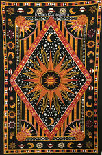 Burning Sun Moon Star Design Twin Tapestry Indian Wall Hanging Cotton Bedspread