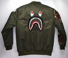 A Bathing Ape Bape Dark Green Camo Puffer Winter Letterman Jacket Coat WGM Tiger