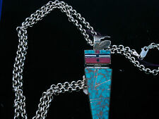 "Zuni Channel Inlay Turquoise,Coral, Jet: Hinged Pendant & Pin combo w/30""Chain"