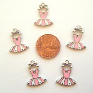 5  enamel  pink and white dress charms