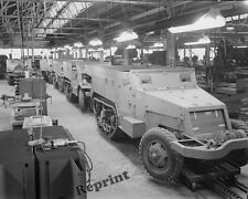 Photograph WWII Half Track Scout Production Line  Year 1941  8x10