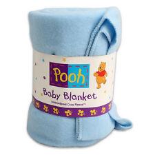 "WINNIE POOH Baby Cozy Blanket Throw Fleece Embroidered 36""x48"" Blue Disney NEW"