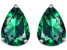 2.50CT WOMENS STYLISH 14K WG PLATED 925 SILVER EMERALD PEAR SHAPE STUD EARRINGS