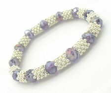 Rhinestone Crystal, Rondelle Snowflake Elasticated Bracelet