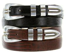 "Vincente Italian Leather Designer Dress Belt 1-1/8"" to 1"" width, Black Brown Tan"