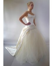 J'Aton Couture designer XS 8 cream silk wedding dress formal