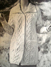 "1686 RETRO WOMENS 3/4 LENGTH ARAN COAT 34""-38"" VINTAGE KNITTING PATTERN"