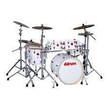Ddrum 6Pcs Hybrid Series White Wrap Finish Birch Body Drum Kit (HYBRID 6 WHT)